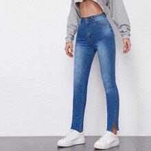 High Waist Split Side Skinny Jeans