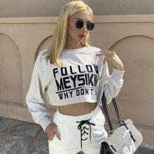 MEYSIKIM pullover corta con estampado de slogan