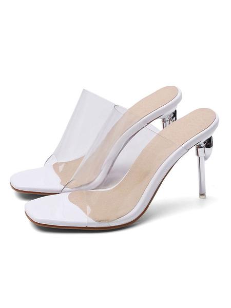 Milanoo Women\s Transparente Clear Slides White Sandals Square Toe Stiletto Heel Summer Shoes