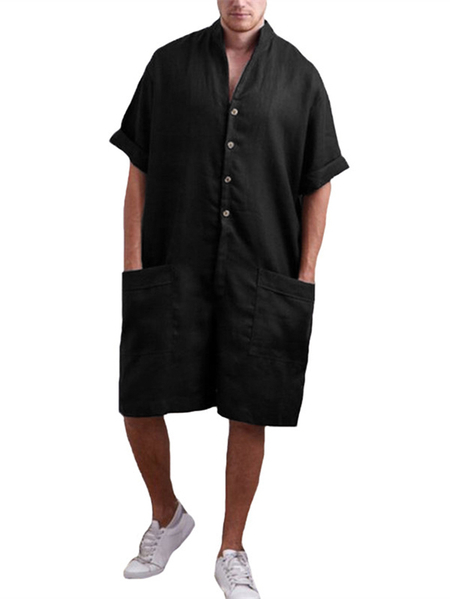 Yoins Men Stand Collar Pocket Casual Cotton Shirt Sleeve Loose Rompers Jumpsuits