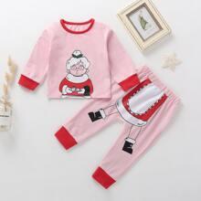 Toddler Girls Christmas Print Tee & Sweatpants