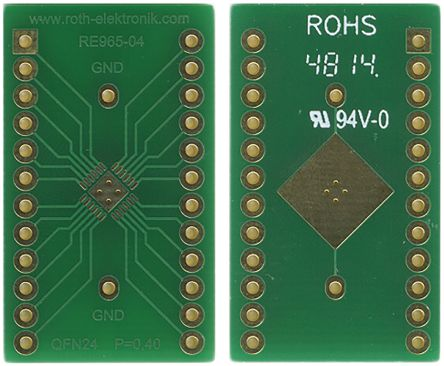 Roth Elektronik RE965-04, Double Sided Extender Board Adapter Adapter With Adaption Circuit Board 33.3 x 19.5 x 1.5mm