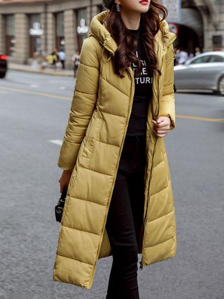 Milanoo Las mujeres Puffer bata blanca con capucha de manga larga con cremallera abrigo acolchado