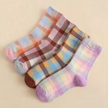 4pairs Plaid Pattern Socks