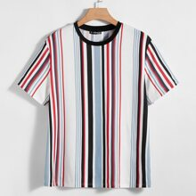Men Colorful Striped Tee