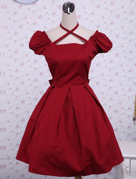 Milanoo Traje de lolita de algodon rojo con escote cuadrado de estilo dulce