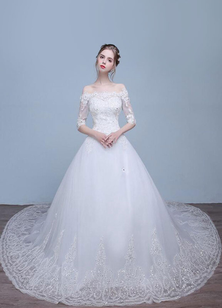 Milanoo Lace Wedding Dress Off The Shoulder Half Sleeve Rhinestone A-Line Sequined Bridal Dress With Train