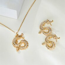 1pc Chinese Dragon Charm Necklace & 1pair Stud Earrings