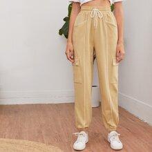 Drawstring Waist Flap Pocket Contrast Piping Pants