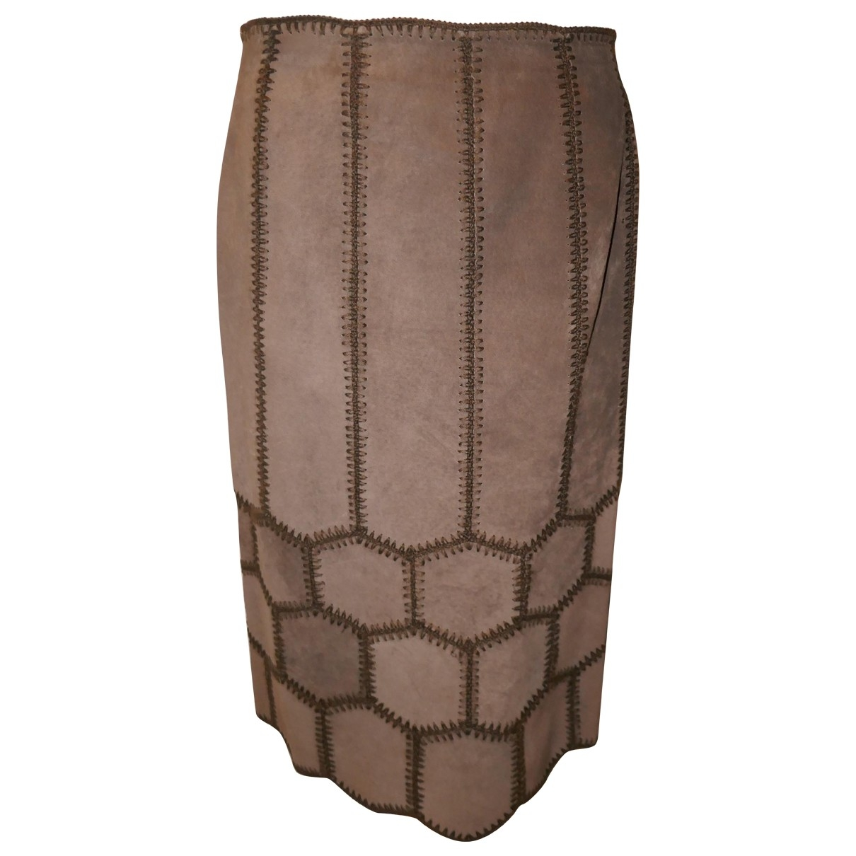 Non Signé / Unsigned \N Brown Suede skirt for Women 8 US