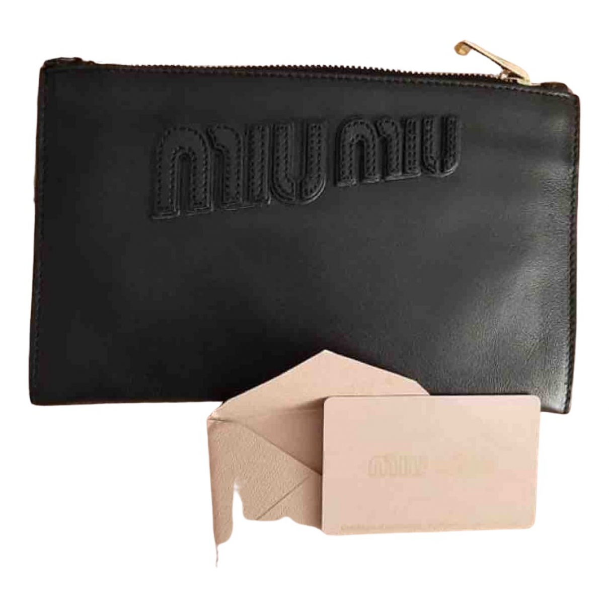 Miu Miu Miu Crystal Black Leather Clutch bag for Women N