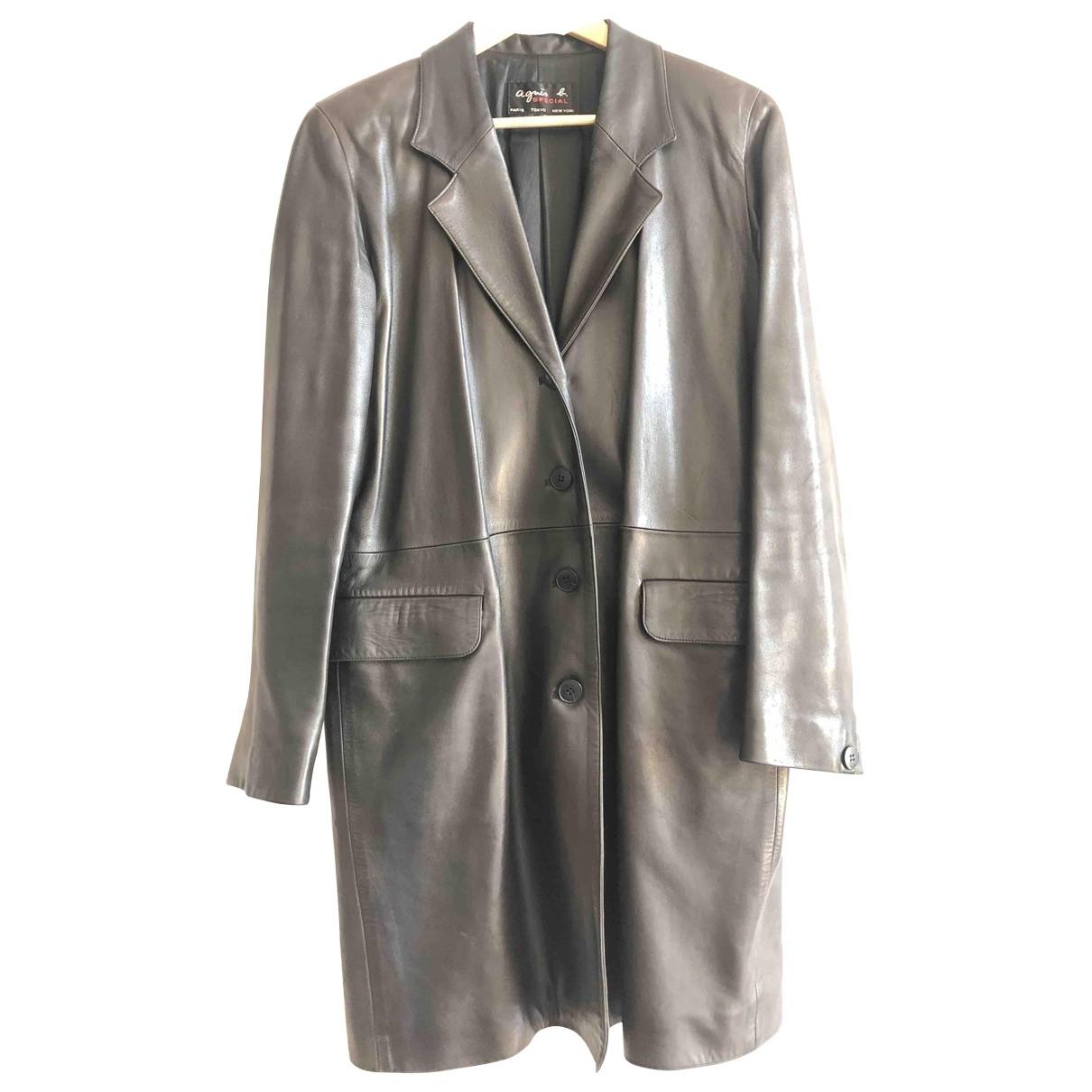 Agnès B. \N Brown Leather coat for Women 38 FR