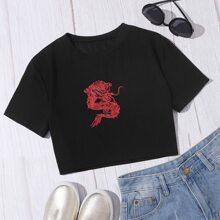 Crop T-Shirt mit Drachen Muster