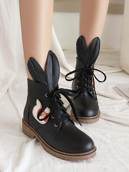 Milanoo Botas clasicas de Lolita Zapatos de Lolita de cuero PU de conejo con punta redonda de albaricoque