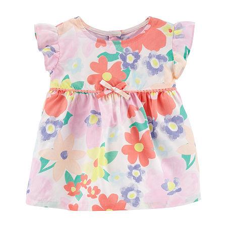 Carter's Toddler Girls Round Neck Short Sleeve Peplum Top, 5t , Multiple Colors