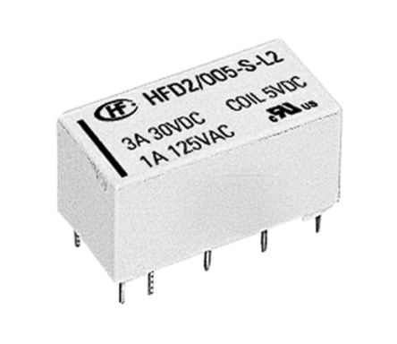 Hongfa Europe GMBH , 5V dc Coil Non-Latching Relay DPDT, 3A Switching Current PCB Mount, 2 Pole (5)