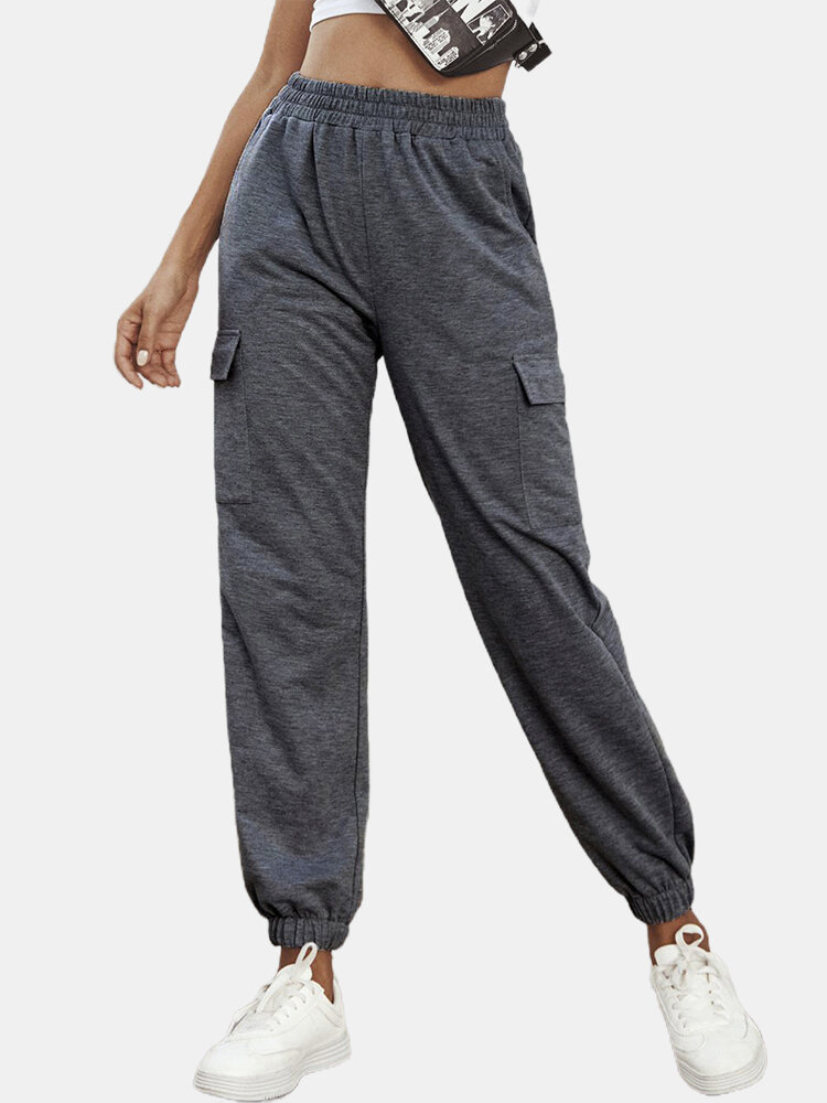 Solid Color Elastic Waist Sport Fitness Casual Pants For Women