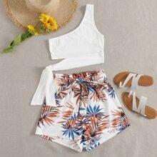 One Shoulder Tie Detail Crop Top & Paperbag Waist Belted Tropical Shorts Set