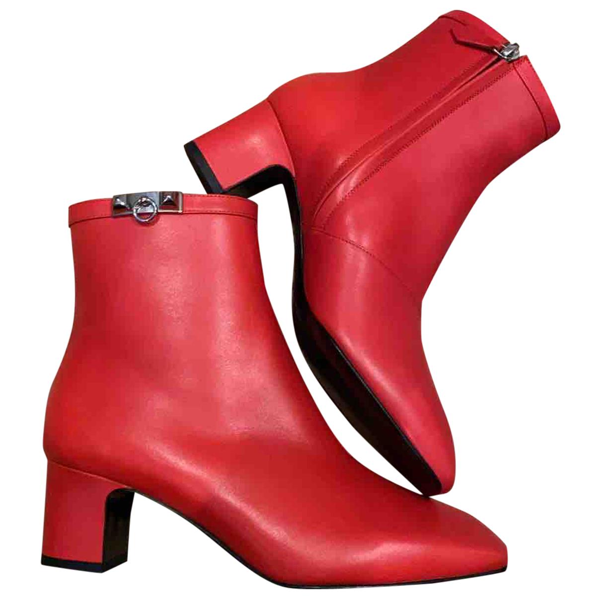 Hermes \N Stiefeletten in  Rot Leder