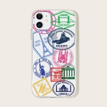 1pc Stamp Print iPhone Case