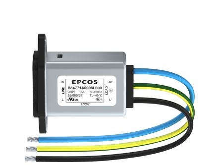 EPCOS ,12A,250 V ac/dc Male Panel Mount IEC Inlet Filter B84771A0012L000,Wire
