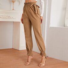 Hose mit Papiertasche Taille und Knoten