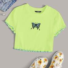 Lettuce Trim Butterfly Embroidery Rib-knit Top