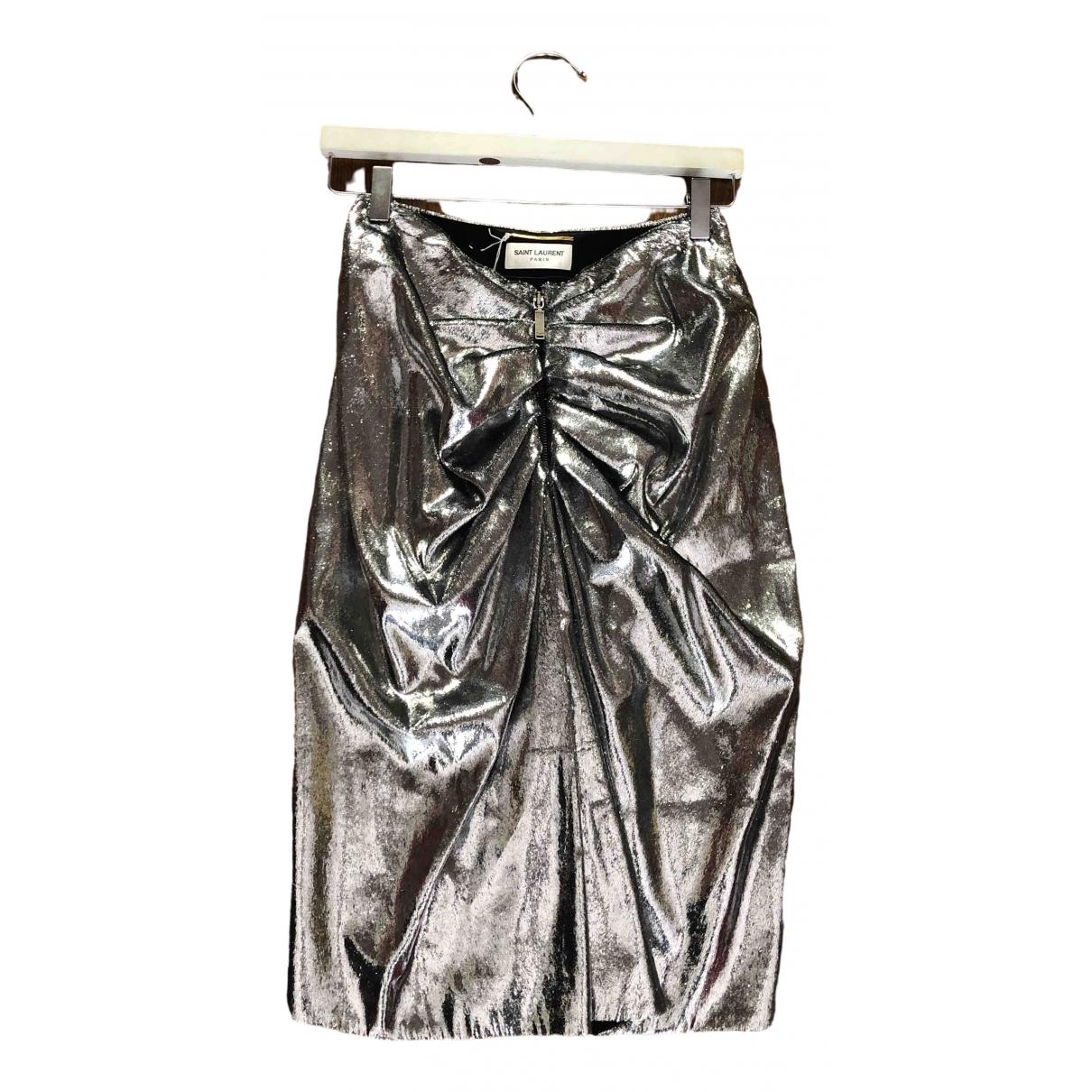 Saint Laurent \N Silver Silk skirt for Women 38 FR