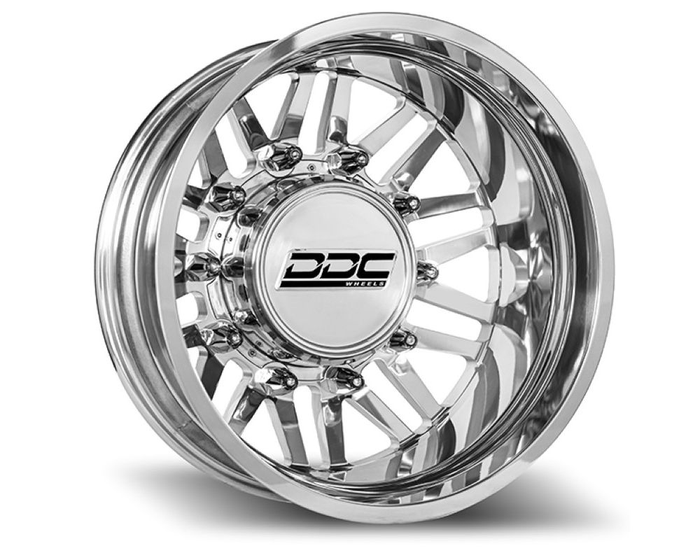 DDC Wheels 01PL-200-28-13 Aftermath Super Duty Dually Wheel Kit 22X8.25 8X200 142Cb 13.50 Tire Polished Ford|Dodge|Ram 2005-2020