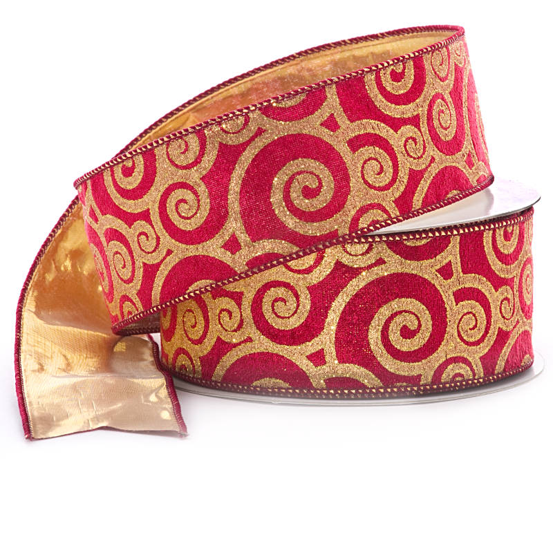Metallic Metal 2-1/2 X 25 Yards Gld/Red Wired Velvet Ribbon W/Gold Back by Ribbons.com