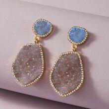 1pair Rhinestone Decor Drop Earrings