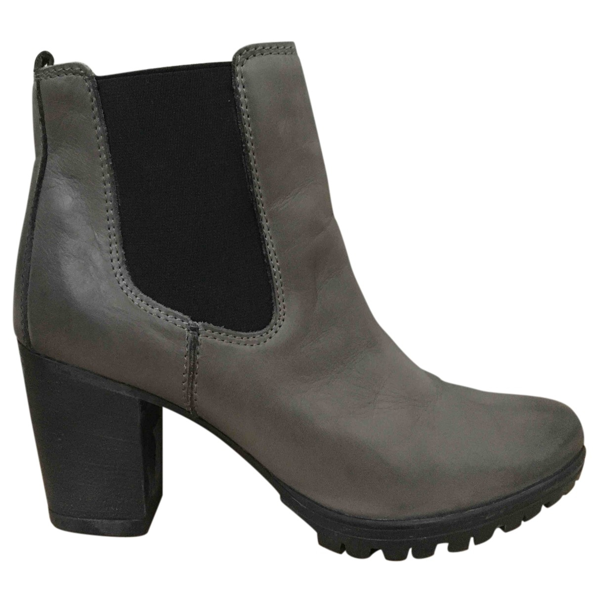 Non Signé / Unsigned N Grey Leather Ankle boots for Women 39 IT