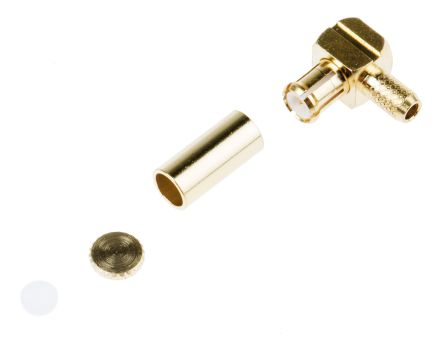 RS PRO Right Angle 50Ω Cable Mount Coaxial Connector, Plug, Gold, Crimp Termination, RG174/U