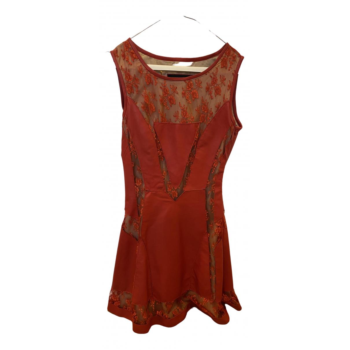 - Robe   pour femme en cuir - rouge