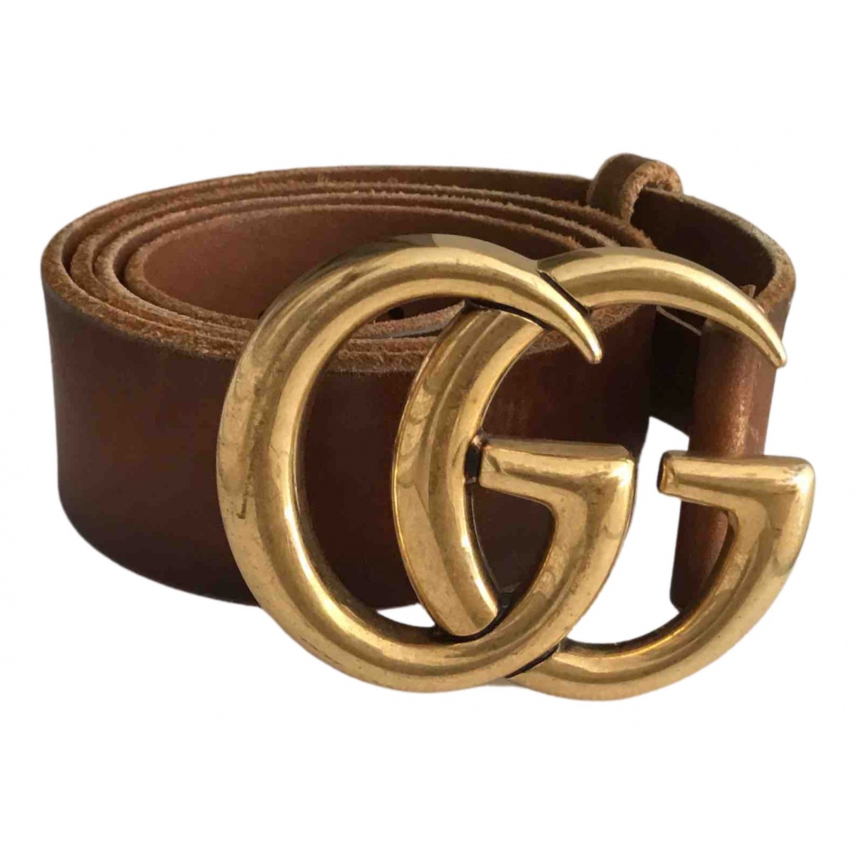 Gucci GG Buckle Brown Leather belt for Women 95 cm