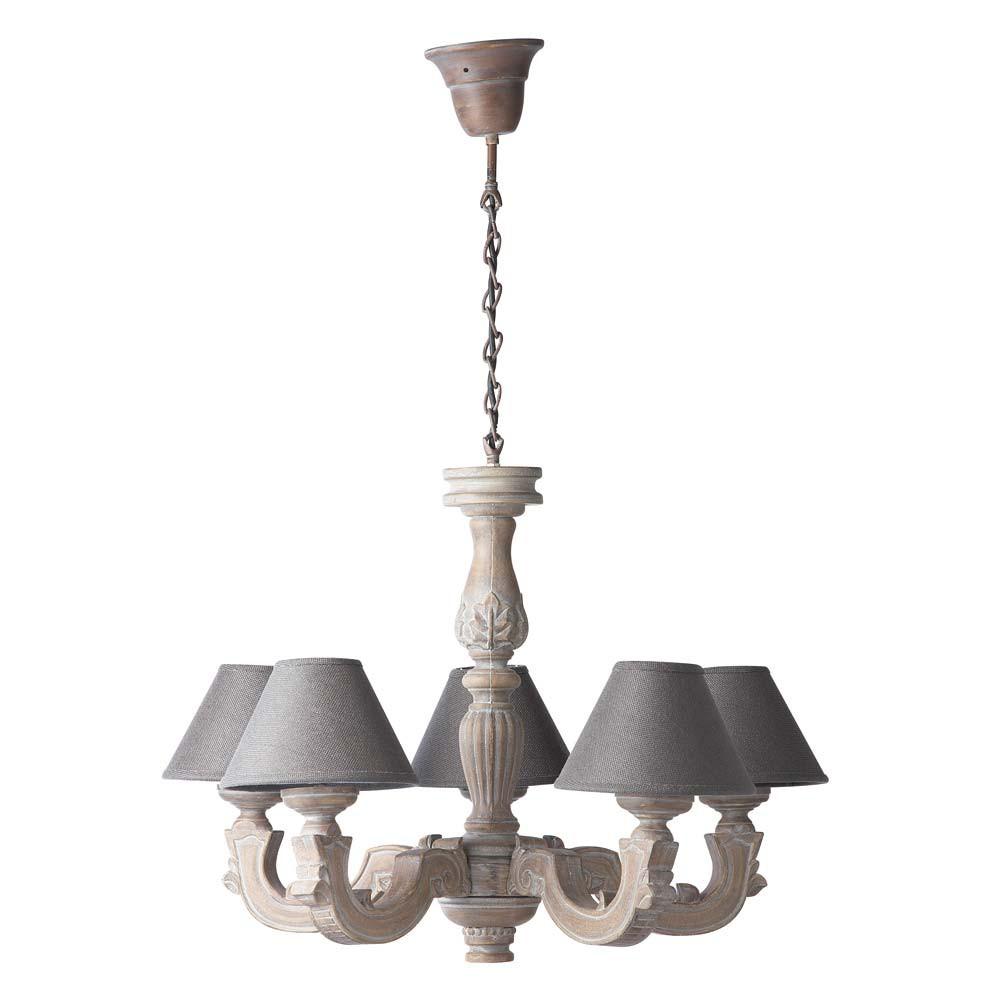 Leuchter, leicht geweisst mit grauen Lampenschirmen