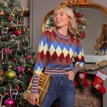 Weihnachten Pullover mit Streifen und Argyle Muster