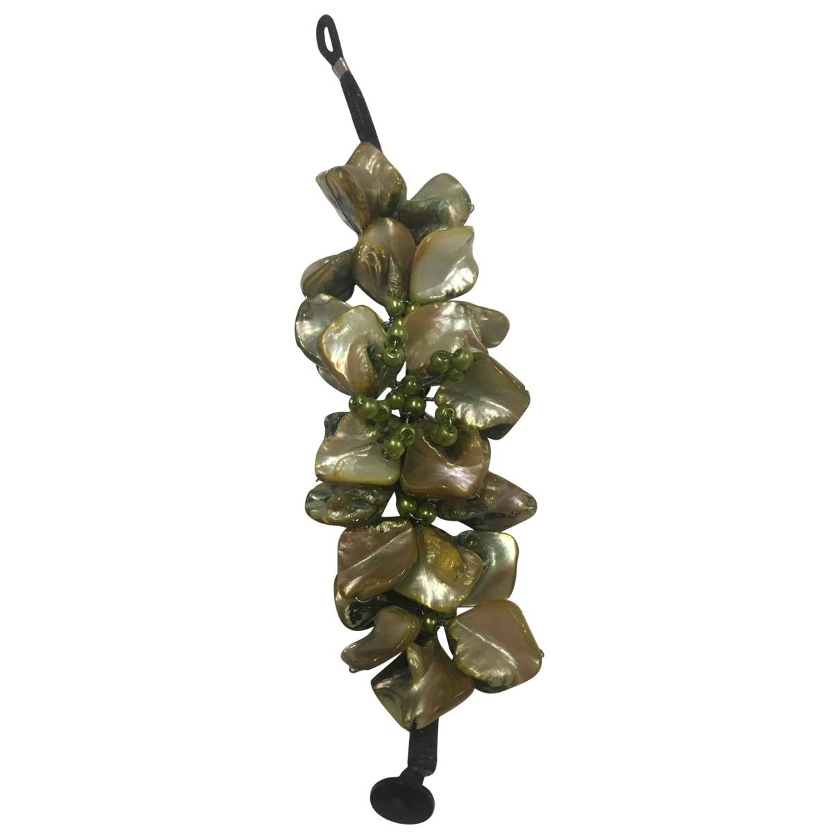 - Bracelet Motifs Floraux pour femme en perles - vert