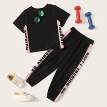 Toddler Girls Contrast Panel Letter Graphic Tee With Sweatpants