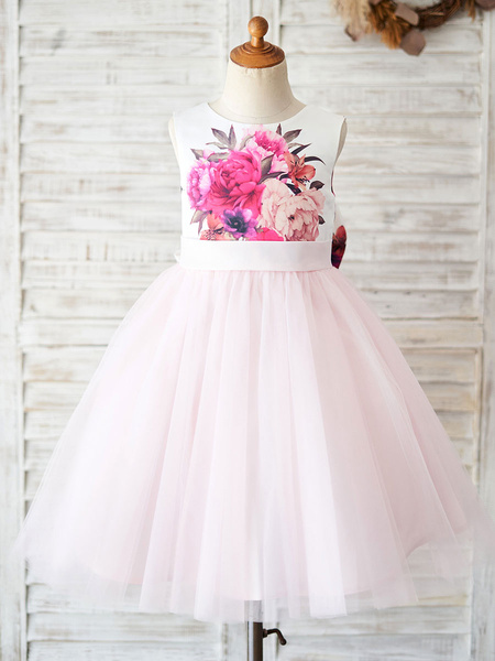 Milanoo Flower Girl Dresses Jewel Neck Tulle Sleeveless Floral Bodice Knee-Length Princess Silhouette Bows Kids Party Dresses