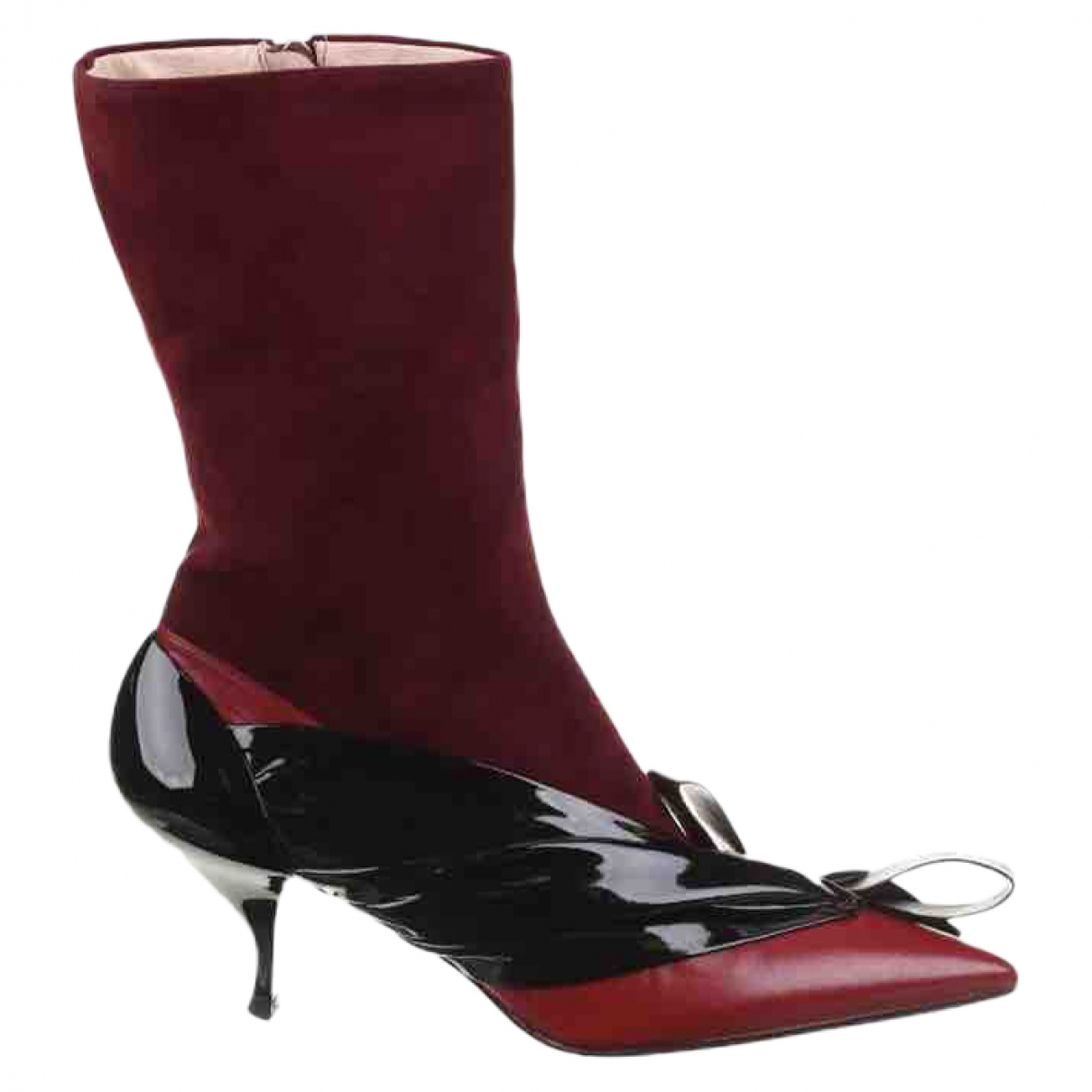Miu Miu - Boots   pour femme en cuir - bordeaux