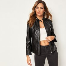 Zip Up PU Jacket