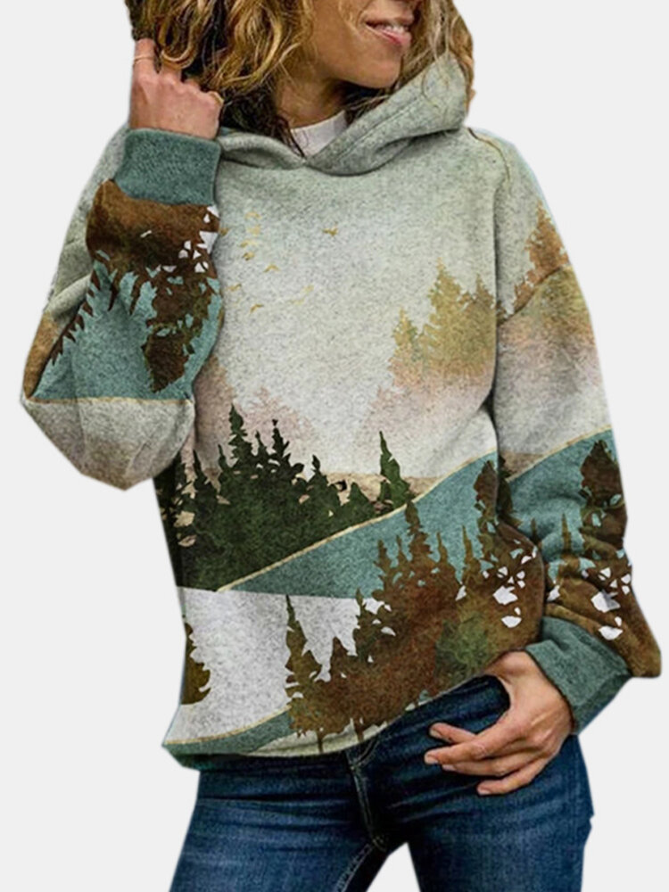 Casual Landscape Print Long Sleeve Hoodie For Women