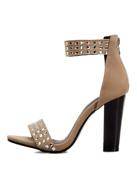 Milanoo High Heel Sandals Womens Studded Open Toe Ankle Strap Chunky Heel Sandals