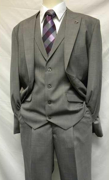 Men's Two Button Gray  Mart Vested Solid 3 Piece Single Breasted Suit