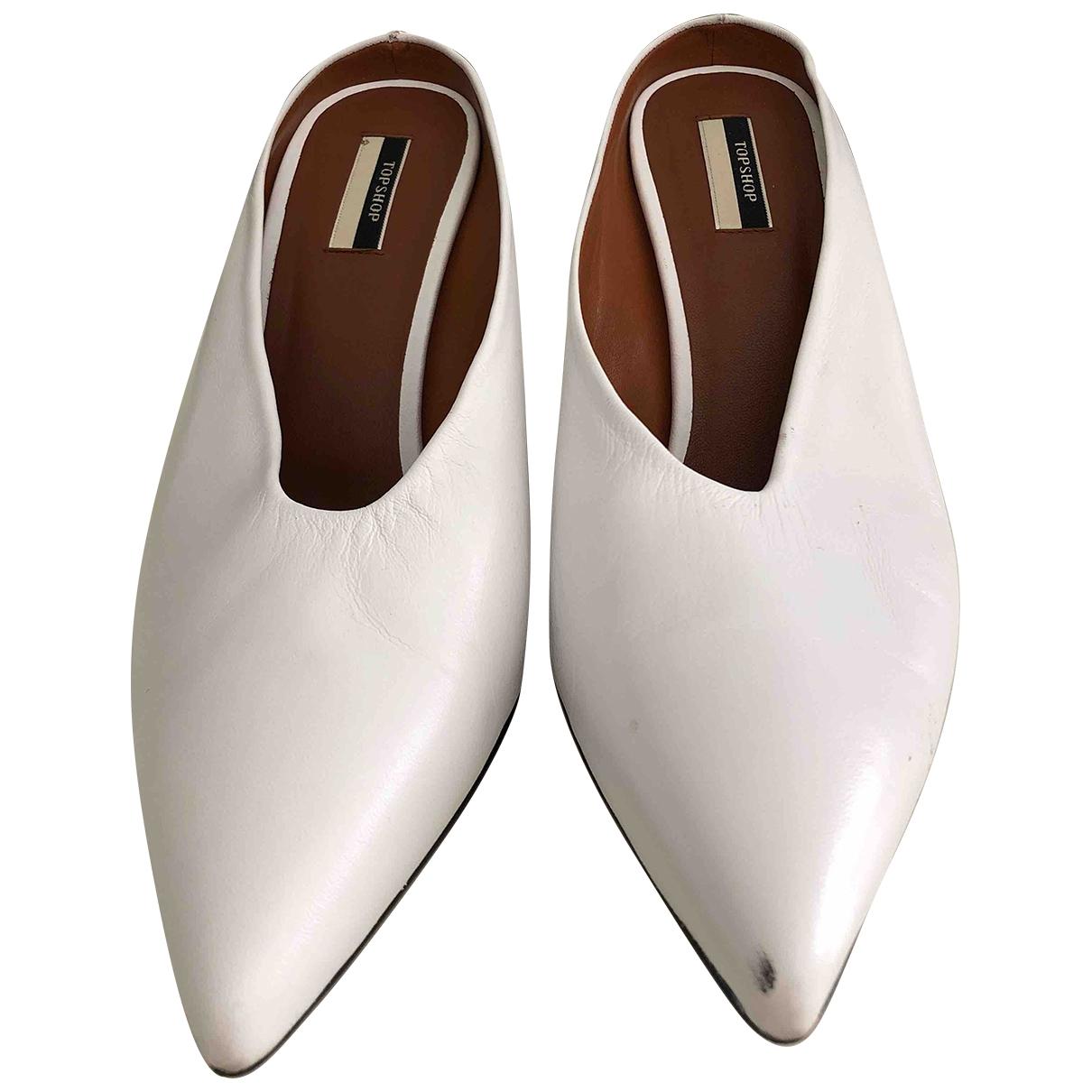 Topshop - Escarpins   pour femme en cuir - blanc