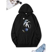 Hoodie mit Astronaut & Planet Muster
