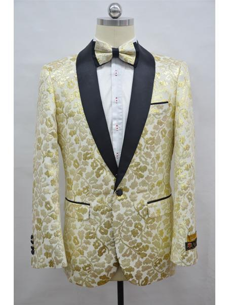 Cheap Mens Printed Flower Jacket Prom modern Tux Champagne