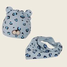 Baby Muetze mit Leopard Muster und Taschentuch