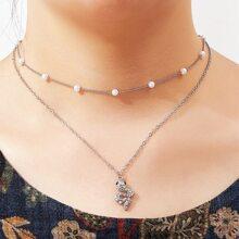 Mehrschichtige Halskette mit Schlange Anhaenger